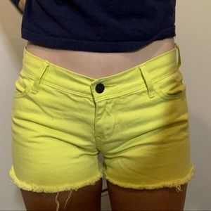 Yellow Cutoff Shorts